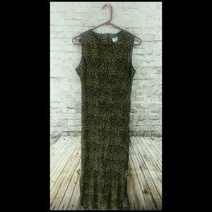 vintage 90s animal print dress long maxi side slit